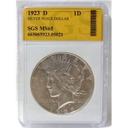 1923-D Peace Silver Dollar  SGS MS-65