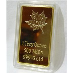 1 Troy Oz  Gold Clad/plated Bar