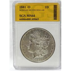 1881-O Morgan Silver Dollar SGS MS65