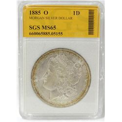 1885-O Morgan Silver Dollar SGS MS-65