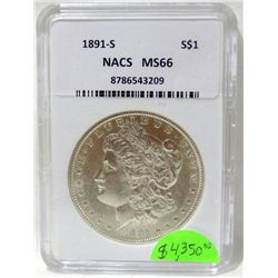 1891-S Morgan Silver Dollar NACS MS66