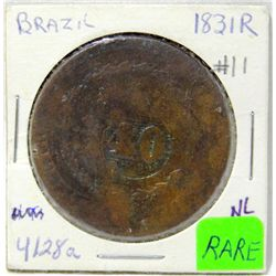 1831-R Brazil 40 Reis On 80 Reis Copper Coin