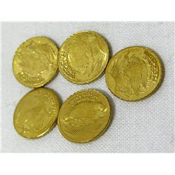 5 Mini ST. Gaudens Gold Coins