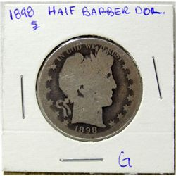 1898-S 50c Liberty Head Silver Barber Half Dollar