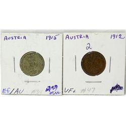 Austria  1912 Two Filler and 1915 Ten Heller Coin