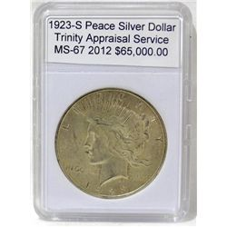 1923-S Peace Silver Dollar MS-67 w/Appraisal