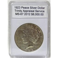 1923 Peace Silver Dollar MS-67 w/Appraisal
