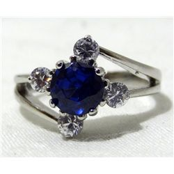 10kt White Gold Plated Sapphire Ring