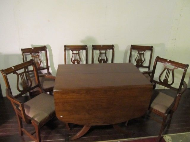 Image 1 : Duncan Phyfe Table U0026 Lyre Back Chairs.
