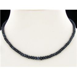 112ct Blue Sapphire Beads Necklace Semi-clear (JEW-1804)