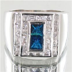 83.41twc Blue Lab Diamond White Gold Vermeil/925 Ring (JEW-3973)
