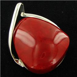 50twc Red Coral Sterling Pendant (JEW-3428)