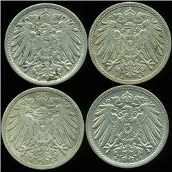 1901-13 Germany 5pf XF/AU 4Pcs (COI-9821)