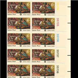 1975 US Poor 10c Plate Block of 10 Mint (STM-0657)
