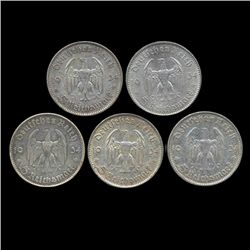 1934A/D/F/G/J Nazi Germany 5 Mark Hi Grade 5 Pcs (COI-8196)