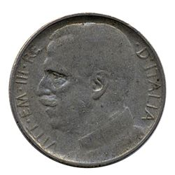 1921 Italy 50c Higher Grade Reeded Variety (COI-7572)