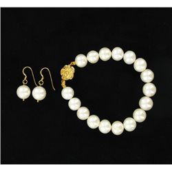 White South Sea Pearl Earring Bracelet Set (JEW-3315)
