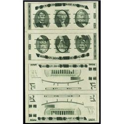 U.S. Giori Test Banknote Uncut Sheet of 4.