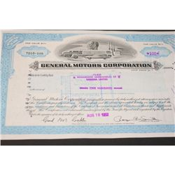General Motors Corporation Stock Certificate Dated 1982