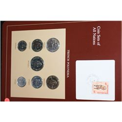 French Polynesia; Coin Sets of All Nations W/Postal Stamp Dated 1985