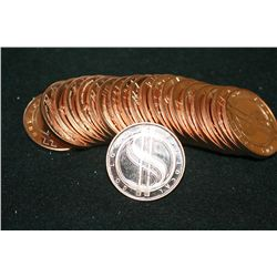 Barter is Better-Buy Local Go Local Copper Round; .999 Fine Copper 1 Oz.; Roll; Lot of 20