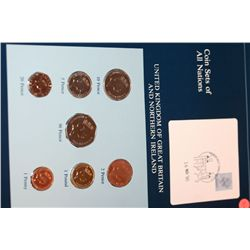 United Kingdom of Great Britain and Northern Ireland; Coin Sets of All Nations W/Postal Stamp Dated
