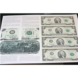 1995 US Federal Reserve Note $2; Atlanta GA Reserve; Lot of 4; Uncut Bills