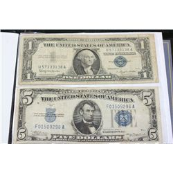 1957-B US Silver Certificate $1; Blue Seal & 1934-A US Silver Certificate $5; Blue Seal