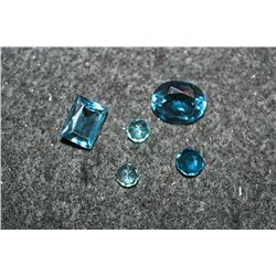 Loose Synthetic Blue & Green Gemstones; Lot of 5