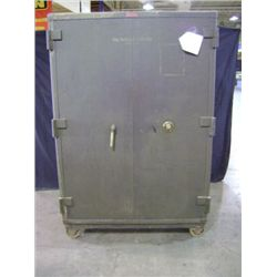 "MOSLER SAFE, 75"" X 51"" X 36 1/2"", 2 DOOR, GREEN IS IN LOCKED POSITION WEIGHT 3,055 POUNDS"