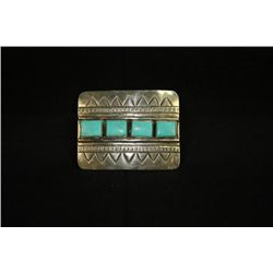 STERLING SILVER DECORATIVE BELT BUCKLE W/TURQUOISE MARKED J.T.