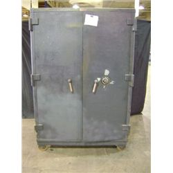 "MOSLER SAFE, 75"" X 51"" X 36 1/2"", 2 DOOR, DARK BLUE, WEIGHT 3,292 POUNDS"