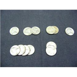 JEFFERSON NICKELS (2) 1962, (2) 1959, (4) 1961, (1) 1960, (2) 1957, (1) 1956 12X MONEY