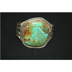 SILVER INDIAN STYLE TURQUOISE STONE BRACELET MARKED IT