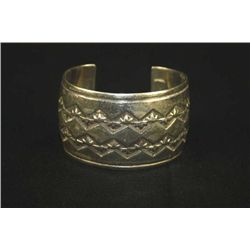 STERLING SILVER INDIAN STYLE SOLID BRACELET MARKED JVT