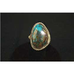 SILVER AND TURQUOISE RING SZ-9 MARKED JVT