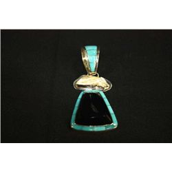 STERLING SILVER AND TURQUOISE 3-DROP NECKLACE SLIDE MARKED DOMM