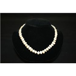 "BAROQUE NATURAL PEARL NECKLACE 16"" LENGTH 53 MIS-SHAPED PEARLS"