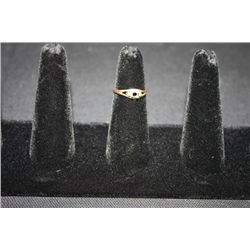 10KT YELLOW GOLD RING SET W/2 SMALL SIDE DIAMONDS--NO CENTER STONE SZ-6.75