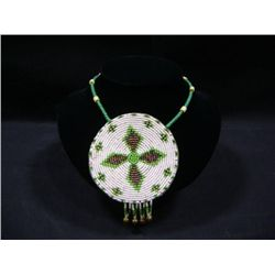 "CUSTOM HAND MADE INDIAN BEADED DANCE NECKLACE WITH 3.5"" ROUND INDIAN BEADED MEDALLION"