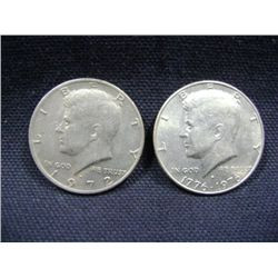 KENNEDY HALF DOLLARS (1) 1976, (1) 1972 2X MONEY