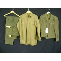 USMC SERVICE DRESS UNIFORM FULL SUIT, PANTS COAT SHIRT GREEN