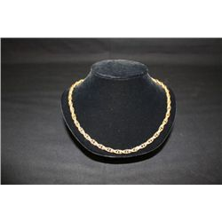 """12KT 1/20 YELLOW GOLD ART STYLED CHAIN NECKLACE 23.5"""""""