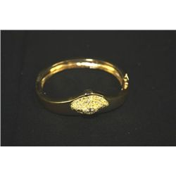 14KT YELLOW GOLD LADIES ART STYLED BRACELET 52 SMALL DIAMONDS (1) CENTER CUT 56.8 GRAMS TOTAL/1 CT.