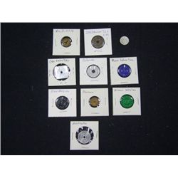 LOT OF 11 TAX TOKENS