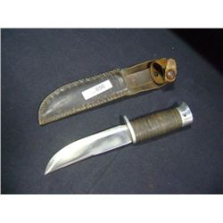 HOMEMADE HUNTING KNIFE W/CASE 5  BLADE