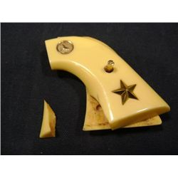 IVORY STYLE POLY RESIN COLT PISTOL GRIPS ONE IS DAMAGED