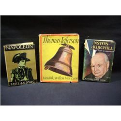 """NAPOLEON"" BY EMIL LUDWIG CR-1929, ""WINSTON CHURCHILL"" BY ROBERT LEWIS TAYLOR CR-1952, ""THOMAS JEFFE"