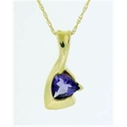 Trillion Amethyst 10K Yellow Gold Necklace