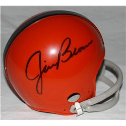 Jim Brown Signed Browns Mini-Helmet (GA COA)